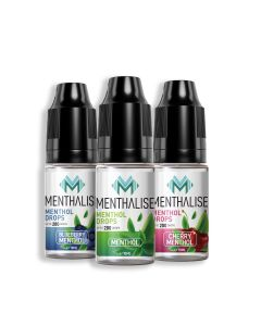 Menthalise menthol, cherry and blueberry drops for your cigarette.